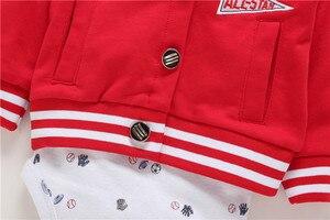 Image 5 - 2020 חדש אדום ילד בגדי 100% כותנה מעיל + מכנסיים + תינוק romper סתיו חורף סטי 6 ~ 24 חודשים בגד גוף תינוקות בני סטי בגדים