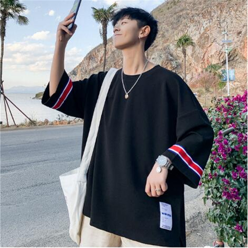 Tee Men Street-Wear Trends Brand Tshirt Korean-Version New-Fashion Short-Sleeve Tops