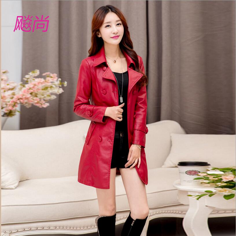 Spring and autumn large size women PU leather coat long section plus velvet thick jacket double breasted button black coat/S-5XL