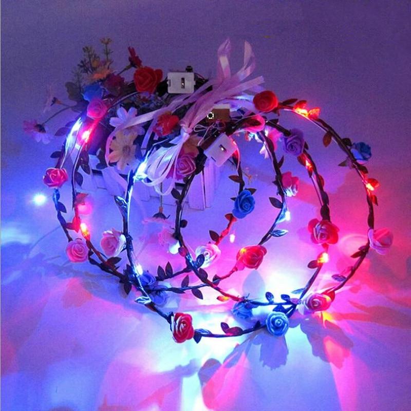 20pcs Colorful LED Glow Flower Headband Garland Wreath Women Girls Flashing Hair Accessories Glow Party Supplies Halloween