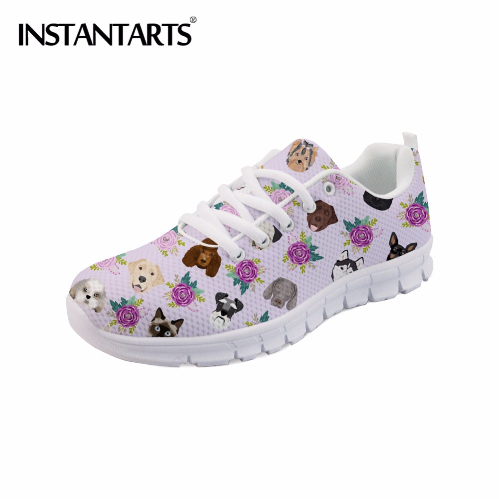 INSTANTARTS Cute Puppy Dog and Cat Floral Print Women's Casual Shoes