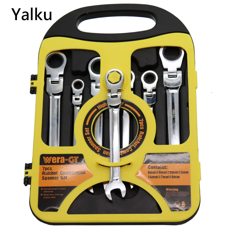 Yalku Ratchet Wrench Set with Box Hand Tool Set Ratchet Wrench Spanner Hexagon Universal Head Torque Wrench Adjustable Wrench yalku adjustable wrench ratchet spanner tool kit high quality universal torque wrench ratchet spanner set 12pcs 8 19mm