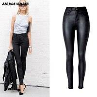 2019 Autumn Women's Slim Faux Leather Trousers Fashion Ladies Stretch PU Biker Pencil Pants Black