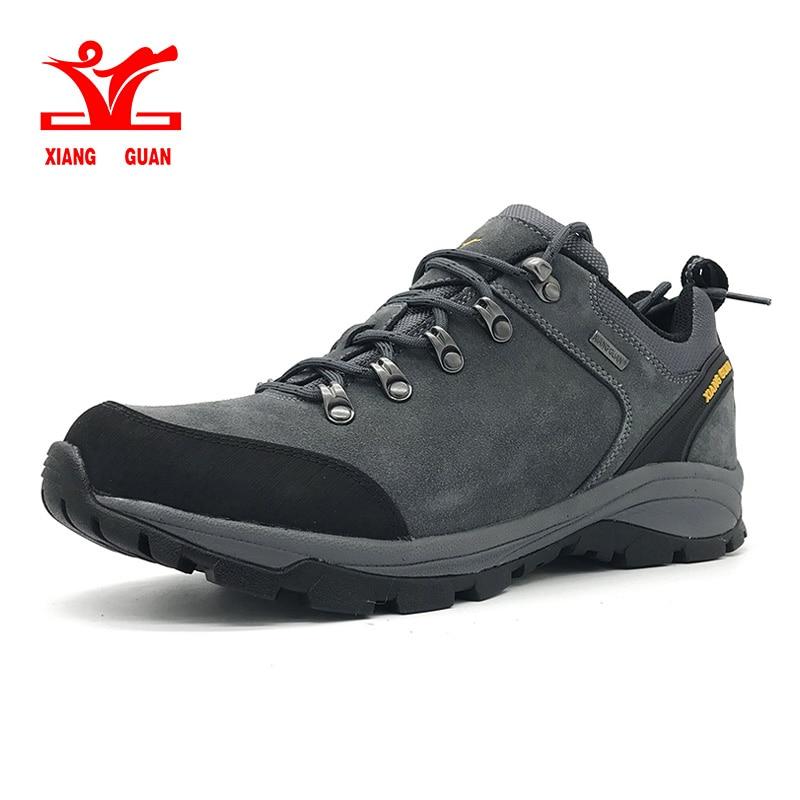 XIANG GUAN man waterproof hiking shoes Cattlehide Anti skid Wear resistant breathable fishing outdoor climbing Sneakers