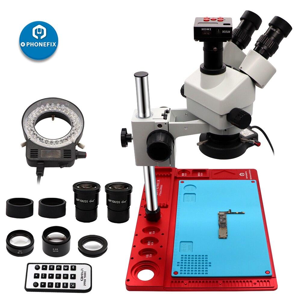 3.5-90X Zoom continu Simul Focal Microscope stéréo trinoculaire 21MP Microscope caméra 144 lumière téléphone carte mère outils de réparation