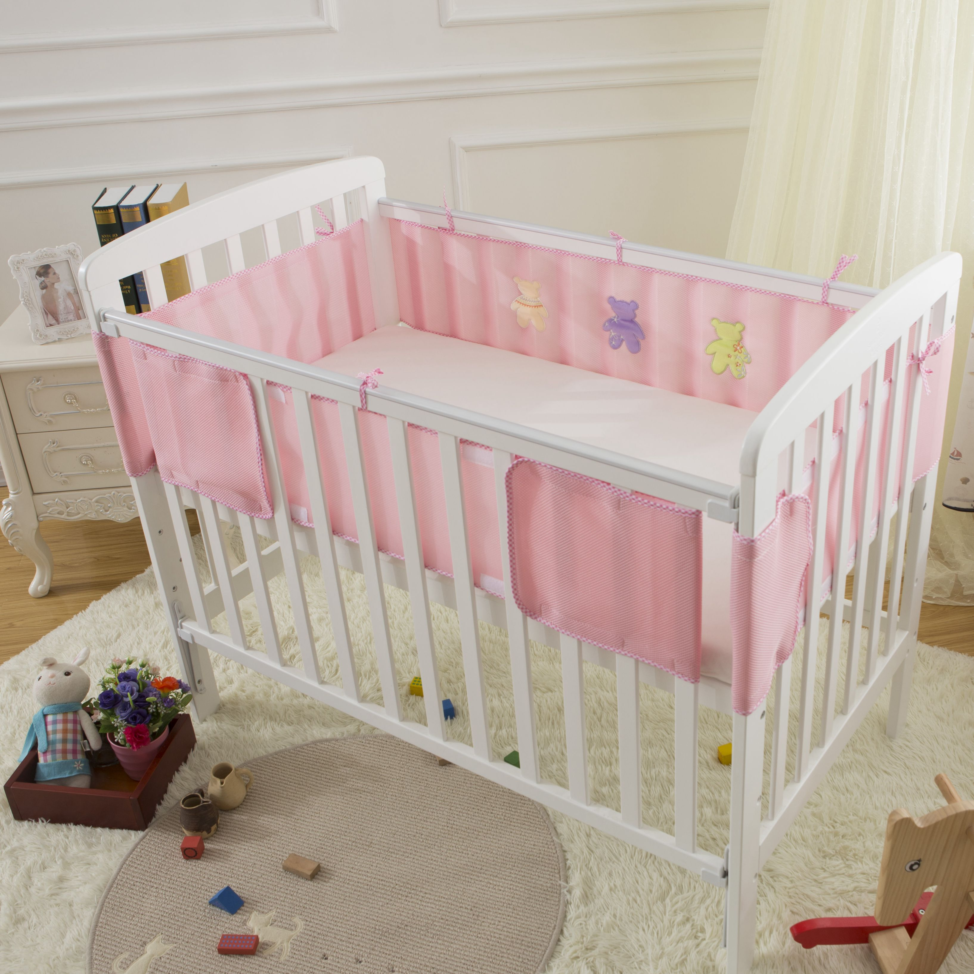 Bumper for crib for sale - Muslin Life 2pcs Set Cartoon Printed 3d Mesh Newborn Infant Bed Bumper Baby Crib Around