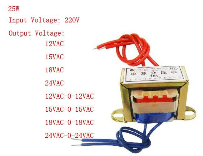 ФОТО 25W EI Ferrite Core Input 220V 50Hz Vertical Mount Electric Power Transformer Output Voltage Single/Doubel 12V 15V 18V 24V