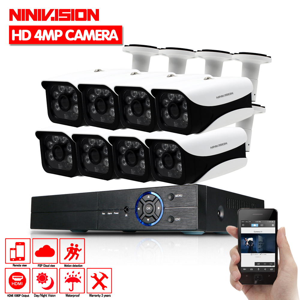 8CH CCTV System 1080p HDMI 4MP DVR 8PCS 4 0MP AHD CCD Waterproof Outdoor CCTV Camera