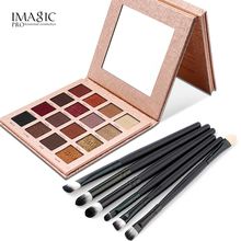 IMAGIC Eyeshadow Palette 16 Color Makeup Professional Long Lasting Matte Shimmer Pigmented Eye Shadow Powder with 6 Pcs Brushes