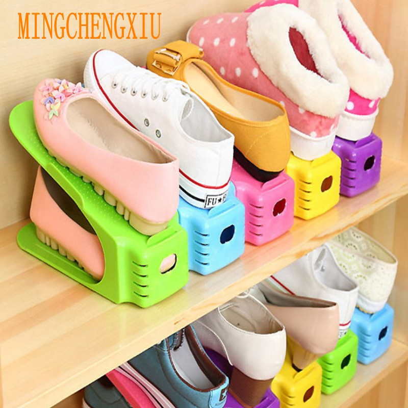 5pcs/set Home storage Shoes Organizer Height Adjustable Plastic Double Layer Saving Storage Space Shoe Polisher Drawer Shoe rack