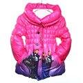 Hot!! crianças Outwear & Casacos de roupas de Inverno Meninas Dos Desenhos Animados Meninas do revestimento da Pele casaco de Algodão acolchoado roupas For3-8Yrs