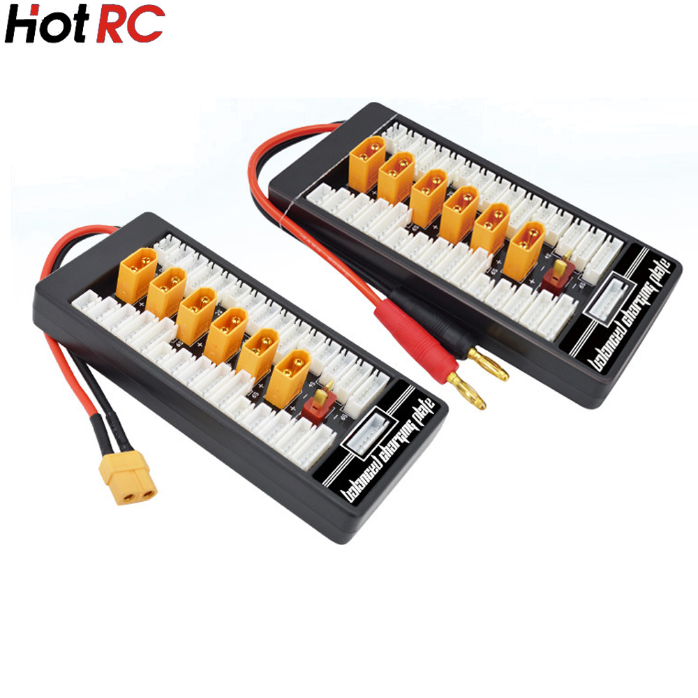 цена на 1pcs HotRc High Quality 2S-6S XT60 Plug Parallel Charging Board Para Board XT60 Plug 4.0MM Bananer for Imax B6 B6AC B8 6 in 1