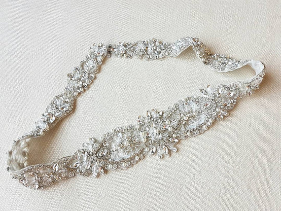 Handmade silver based rhinestone applique crystal beaded rhinestone bridal sash diamante applique wedding belt applique 79cm