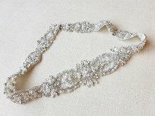 Handmade silver based rhinestone applique crystal beaded bridal sash diamante , wedding belt 84cm