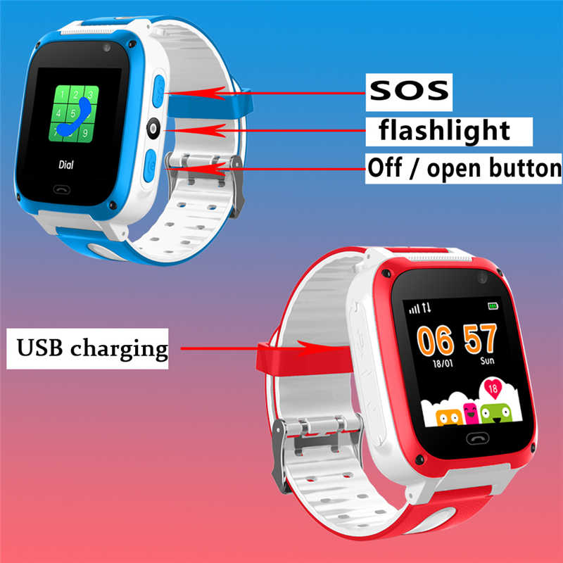2019 New Waterproof Children's Smart Watch Digital Watch Voice Chat SOS Emergency Help Support SIM Card Large Capacity Battery