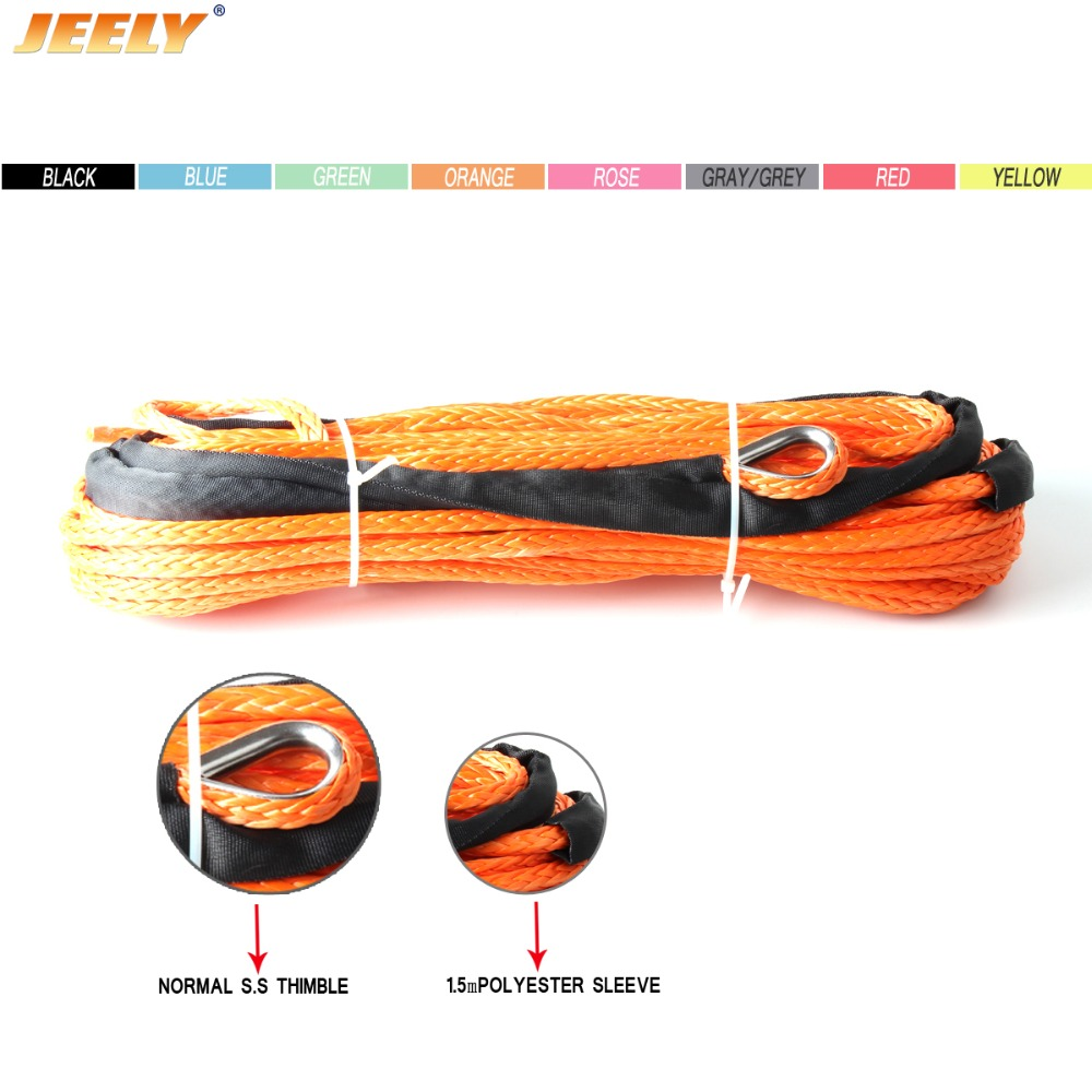 1/4''x50' 6mm*15m 12 Strand Off-road Uhmwpe Synthetic Towing Winch Rope With 1.5m Sleeve And Thimble For ATV/UTV/SUV/4X4/4WD