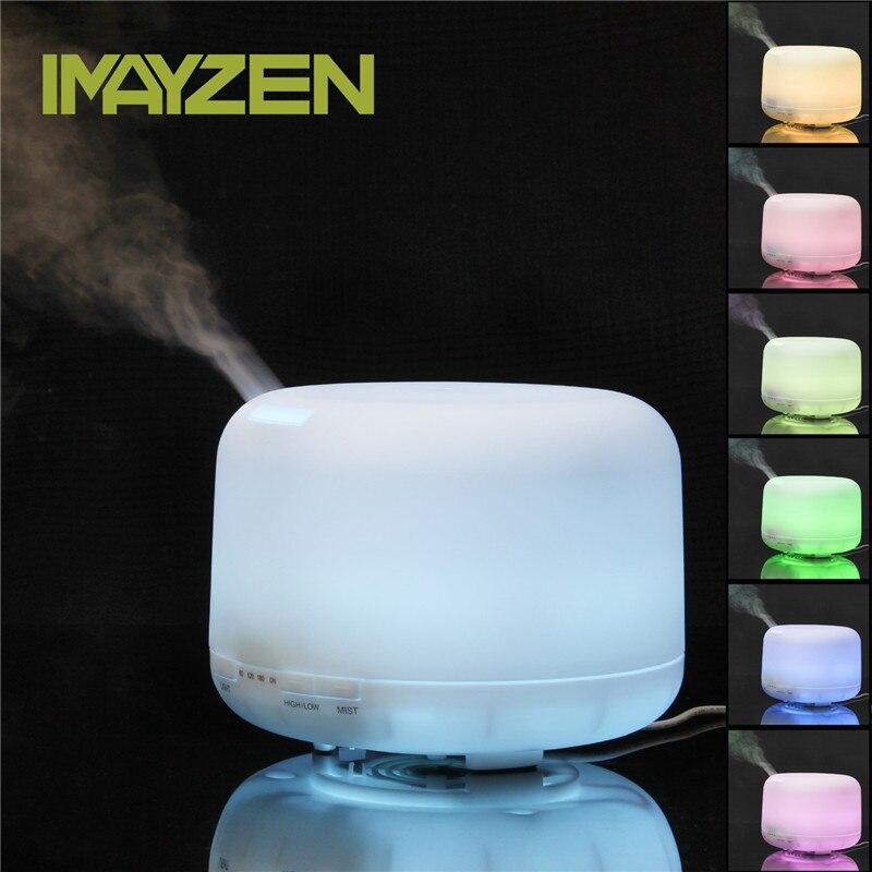 IMAYZEN 500 ML Ultrasonik Esansiyel Yağı Difüzör Hava Temizleyici Serin Sis Nemlendiriciler için 7 Renk ile LED ışık Otomatik Zamanlayıcı ev