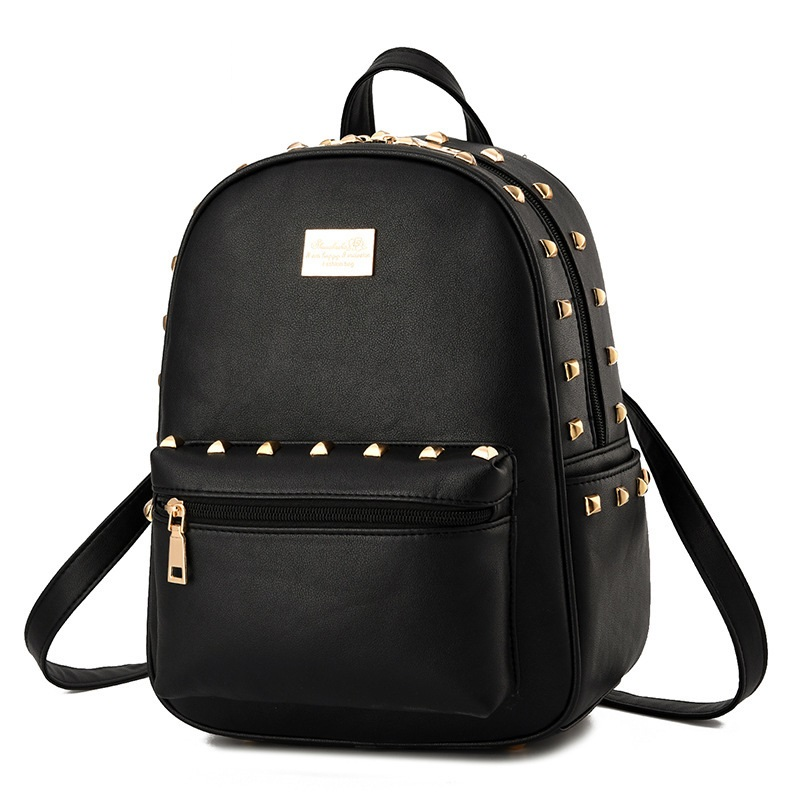 2018 Fashion Women Metal Rivets Backpack High Quality Youth Leather Backpacks for Teenage Girls Female School Shoulder Bag spring summer new large size s 5xl ripped jeans for women pockets curling elastic high waist denim shorts jeans female 4 colors