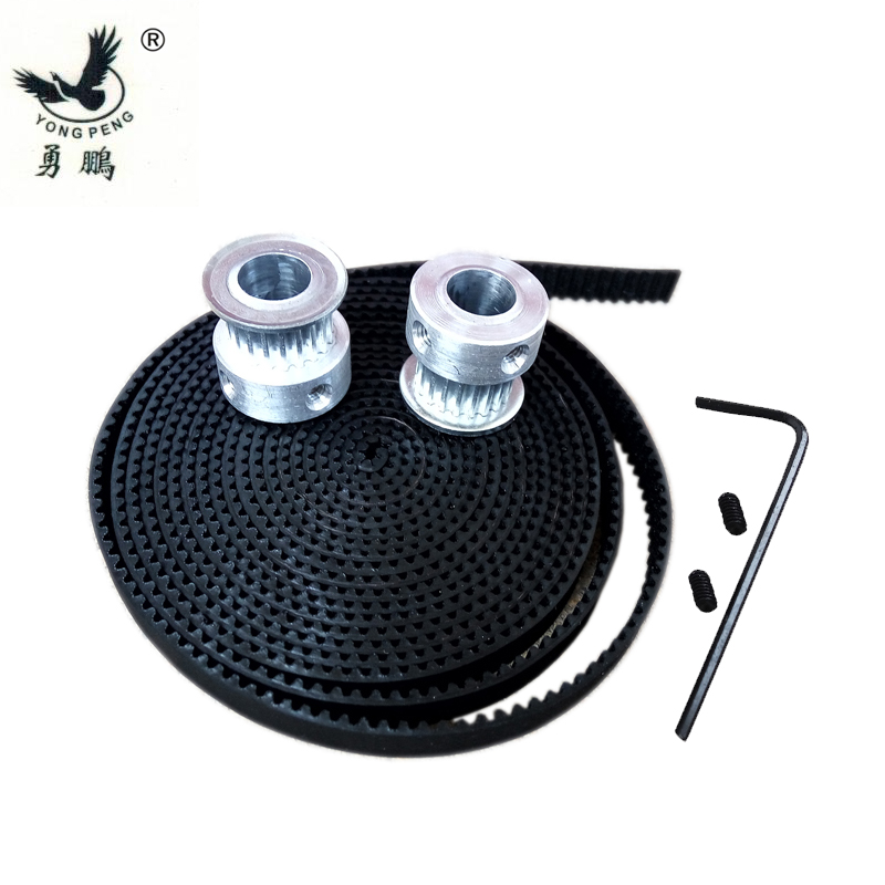 2pcs 20 teeth GT2 timing Pulley bore 5mm + 1 Meters GT2 timing Belt width 6mm for 3D printer CNC machine 2GT high quality