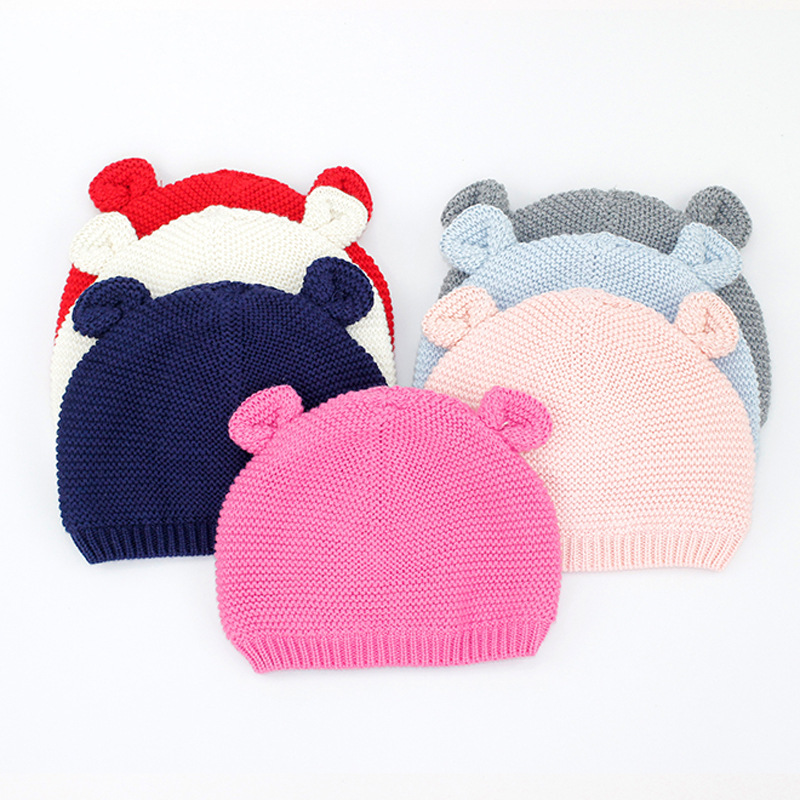 2018 Spring Autumn 0-18M Baby Hat Newborn Baby Cotton Beanie Warm Cap Cute Toddler Infant Girl Boy Knitted Hats for Photo Shoots