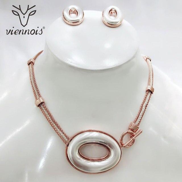 e1ef82bde521 Viennois mezcla de plata Color oro pendientes colgante grande conjunto de  joyas para la joyería
