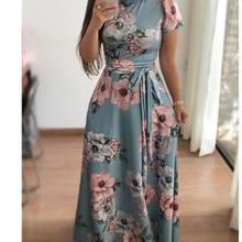 Amazon European and American women s evening high-necked floral print lace  dress efe98f9a7708