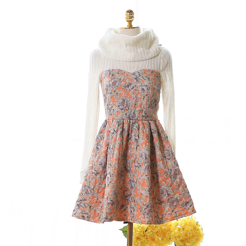 Princess sweet lolita dress False two long sleeved dress thick sweet heap heap get printed cotton knit stitching UF46