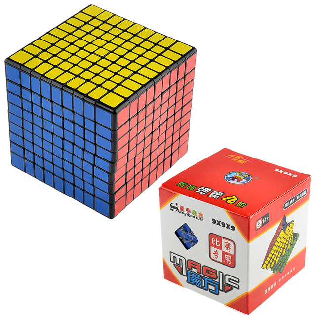 1 PC ShengShou 9x9 Magic Cube Competition Twist Puzzle Cubes Kids Toys Educational Toy Black- 92mm