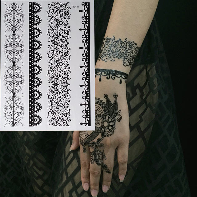 1pc Hot New Black Henna Tattoo Fake Lace Flash Arabic Indian Mandala