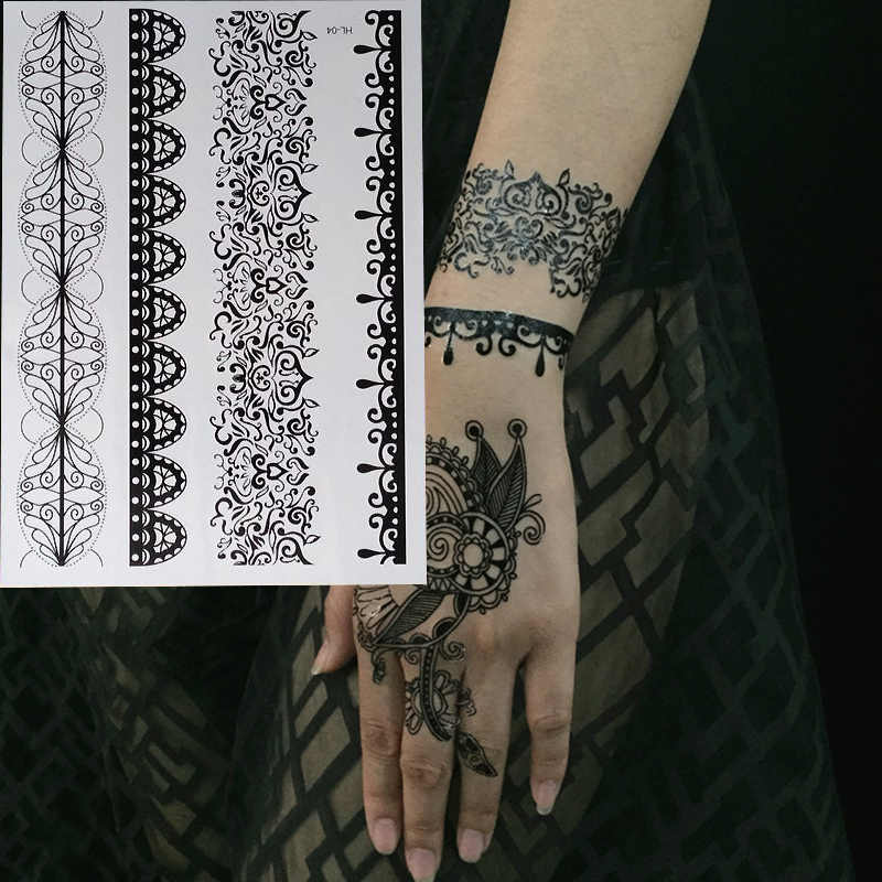 1pc HOT New Black Henna Tattoo Fake Lace Flash Arabic Indian Mandala  Wedding For Bride Art Body Painting Hand Arm