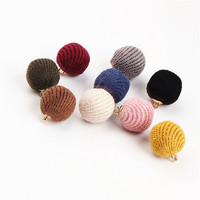 Wholesale 50PCs Fashion Round Fabric Balls Charms DIY Jewelry Findings Handmade DIY Jewelry Ornament Accessories Earring Charm