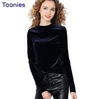 2017 Autumn Fashion Female T Shirt Slim Tops Gold Velvet T Shirt O Neck Long Sleeve