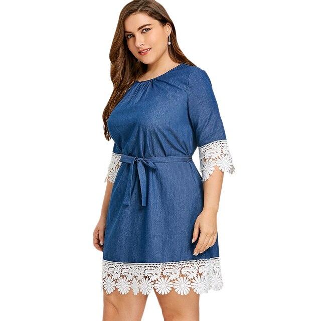Kenancy Plus Size Lace Trim Denim Casual Women Dress Elegant O Neck Half  Sleeves Crochet Belts Feminino Vestidos Party Dress a33c83ff456a