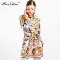 cc84bd516 MoaaYina conjunto de diseñador moda Primavera Verano mujeres mariposa  bordado blanco elegante camisa Tops + Falda corta traje dos piezas