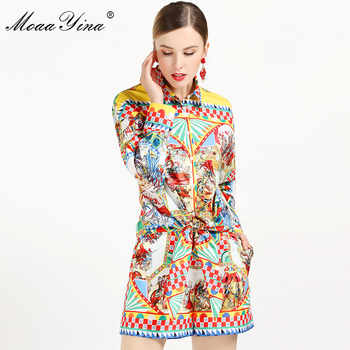 MoaaYina 2019 Fashion Designer Set Summer Women Long sleeve Vintage Character Plaid Print Tops+Sexy Runway Shorts Two-piece suit - DISCOUNT ITEM  48% OFF All Category