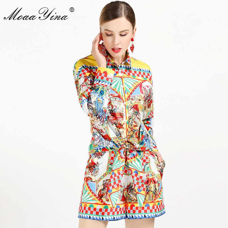 MoaaYina 2019 אופנה מעצב סט קיץ נשים ארוך שרוול בציר אופי משובץ הדפסת חולצות + סקסי מכנסיים קצרים מסלול שני- חליפת חתיכה