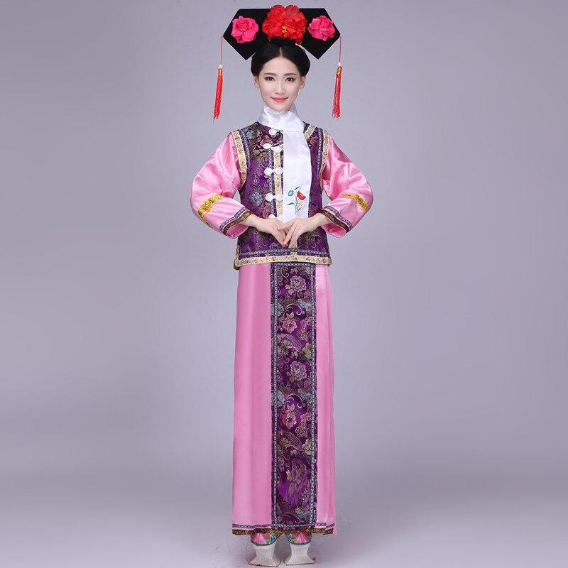 Costume de Tradition chinoise de grande taille femmes le Costume de la dynastie Qing vêtements de princesse chinoise avec chapeau Costume de femmes JC16012