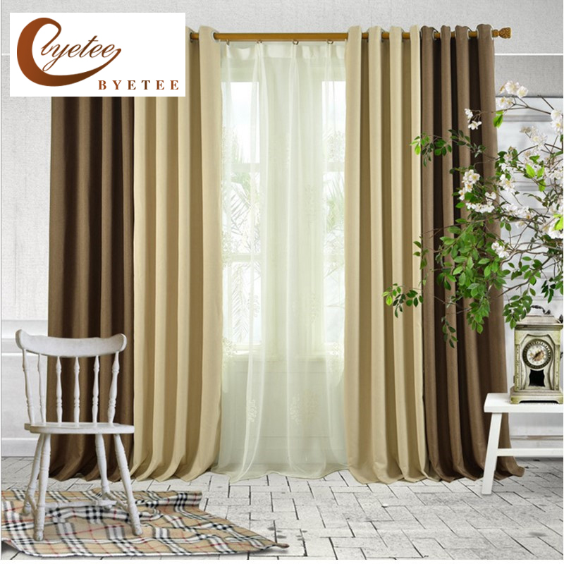 {Byetee} Faux Cotton Linen Ready Made Curtain For Living Room Bedroom Window Tulle Curtains Kitchen Cortinas Mordern Blackout
