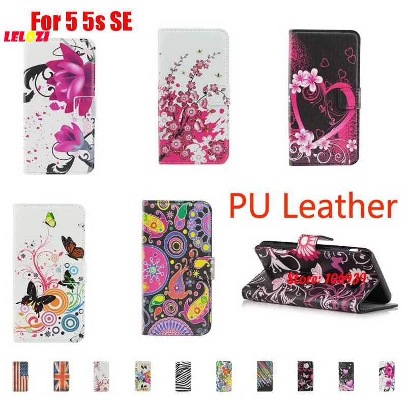 LELOZI Best New Painted PU Leather Leathe Lather Wallet Women Case Cove For iPhone 5 5s SE Colorful Meteor Butterfly Big Flag