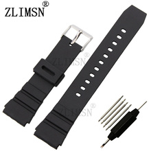 Black Watchbands Soft Silicone Rubber Strap Silver Buckle Wrist Women WatchBand Men Military Sweatband Sport Fashion 20mm 22mm
