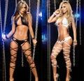 2016 Hot two-piece set Nightclub bandage Mulheres Wear Seductive pole dance Roupas de Couro traje Sexy Lingerie