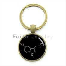 Geeky boyfriend gift Serotonin Biology Chemistry chemical formula keychain biochemistry key chain gift KC508