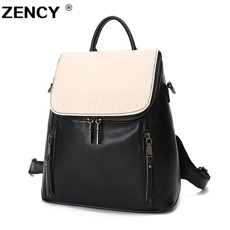 ZENCY 2019 Backpack 100% Genuine Leather Backpacks Natural Real First Layer Cow Leather Top Layer Cowhide Women Shoulder Bag