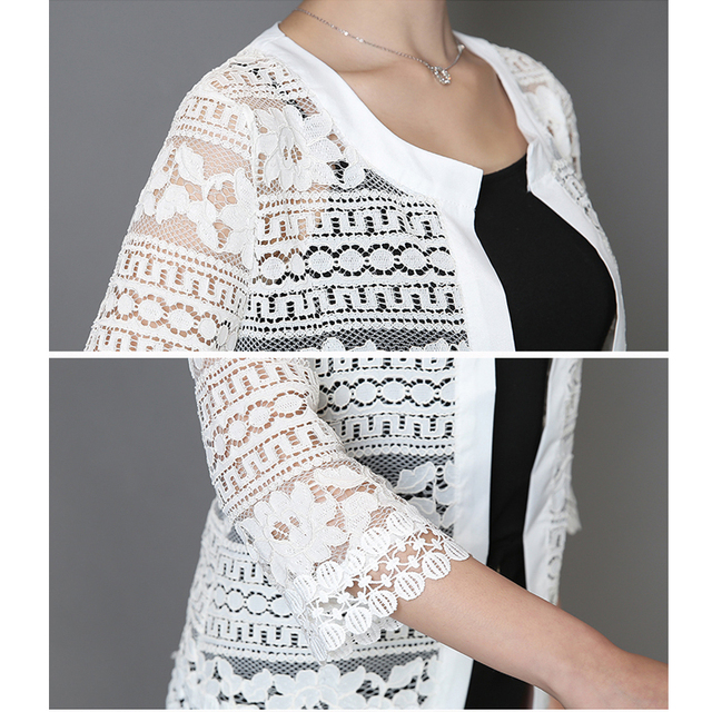 2018 Plus Size Women Clothing 5XL 4XL XXXL Ladies White Lace Blouse Summer Cardigan Coat Black Crochet Sexy Female Blouse Shirt