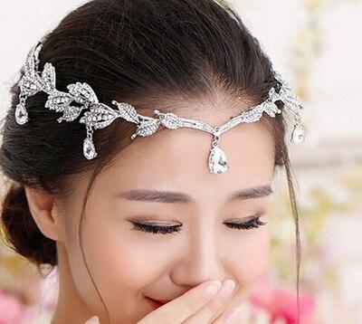 Acessório De Cabelo de Noiva Do Casamento de Cristal do vintage de Strass Waterdrop Folha Tiara Coroa Tiara Testeira Cabelo Da Dama de honra Jóias