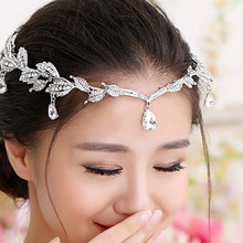 Vintage de cristal nupcial pelo accesorio boda de diamantes de imitación de agua tiara de hojas corona diadema Frontlet de dama de honor joyería del pelo