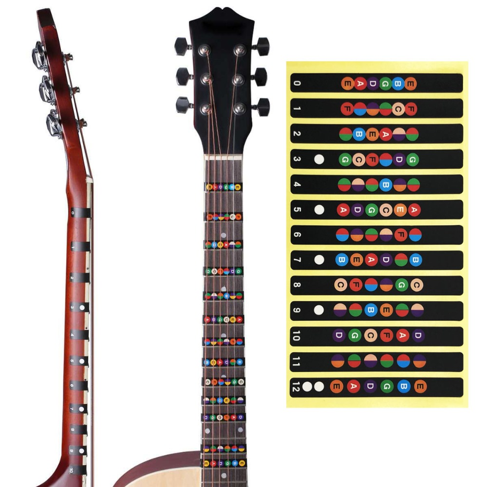 Slozz Guitar Sticker Acoustic Electric Fingerboard Notes Map 6 String Labels Accessories For Guitarra Learning Stringed Instruments Sports & Entertainment