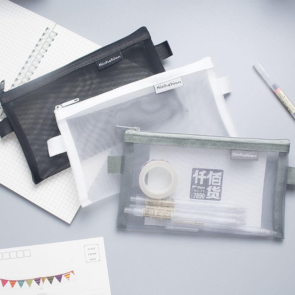 Simple Transparent Mesh Pencil Case Office Student Pencil Cases Nylon School Supplies Pen Box For Stationery Geometry Pencil Bag