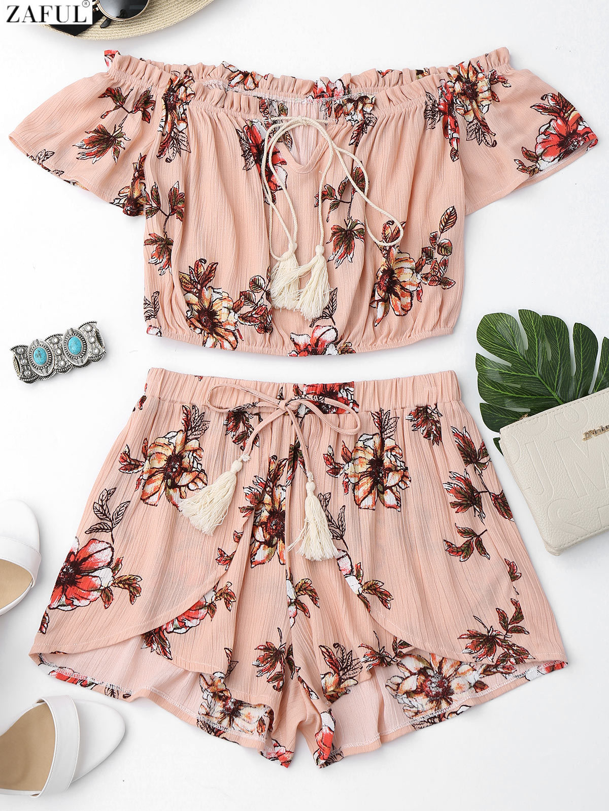 ZAFUL New Off Shoulder Ruffles Top and Tulip Shorts Women Summer Two Piece Set Beach Cover Up Off Shouldr Top Self Tie Shorts цена и фото