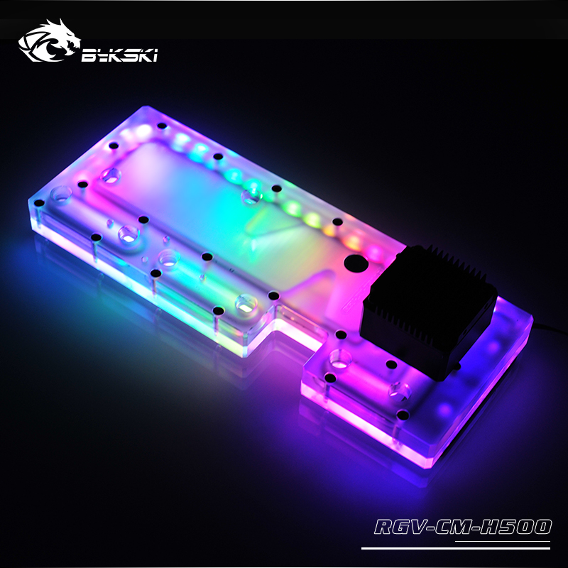 BYKSKI Acrylic Board Water Channel Solution use for CoolerMaster H500M/500P Computer Case for CPU and GPU Block / 3PIN RGB Light bykski b vclt rgb rgb led light tape strip for gpu block